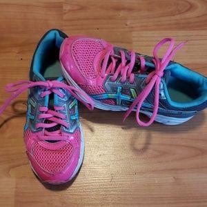 ASICS Gel Contend 3 neon pink grey tennis shoes